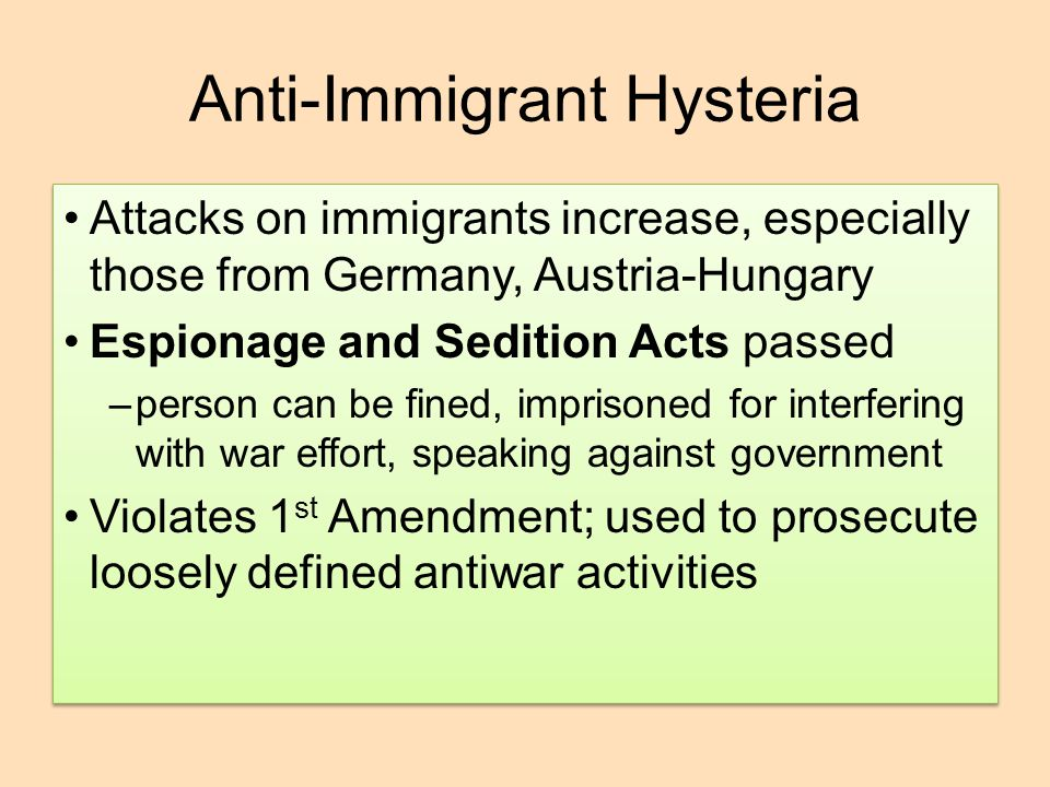 Anti-Immigrant Hysteria