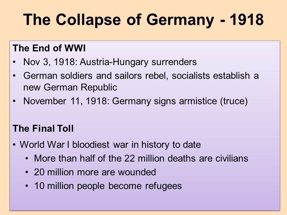 The Collapse of Germany - 1918