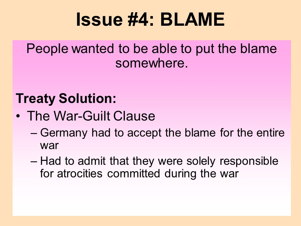 People wanted to be able to put the blame somewhere.