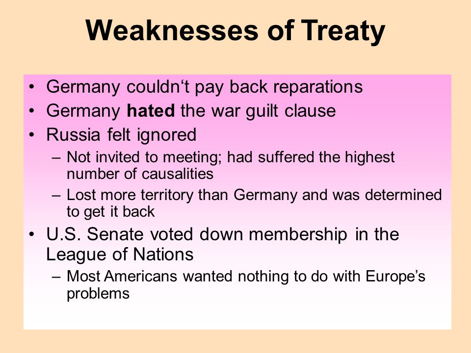 Weaknesses of Treaty Germany couldn't pay back reparations