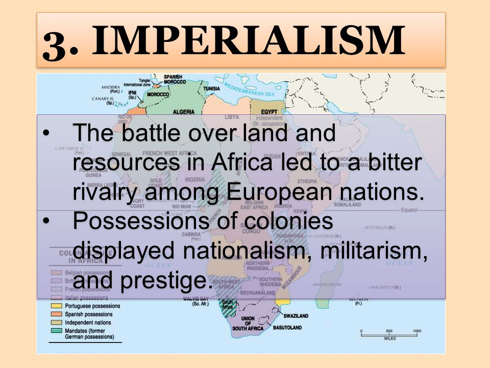 3. IMPERIALISM The battle over land and resources in Africa led to a bitter rivalry among European nations.