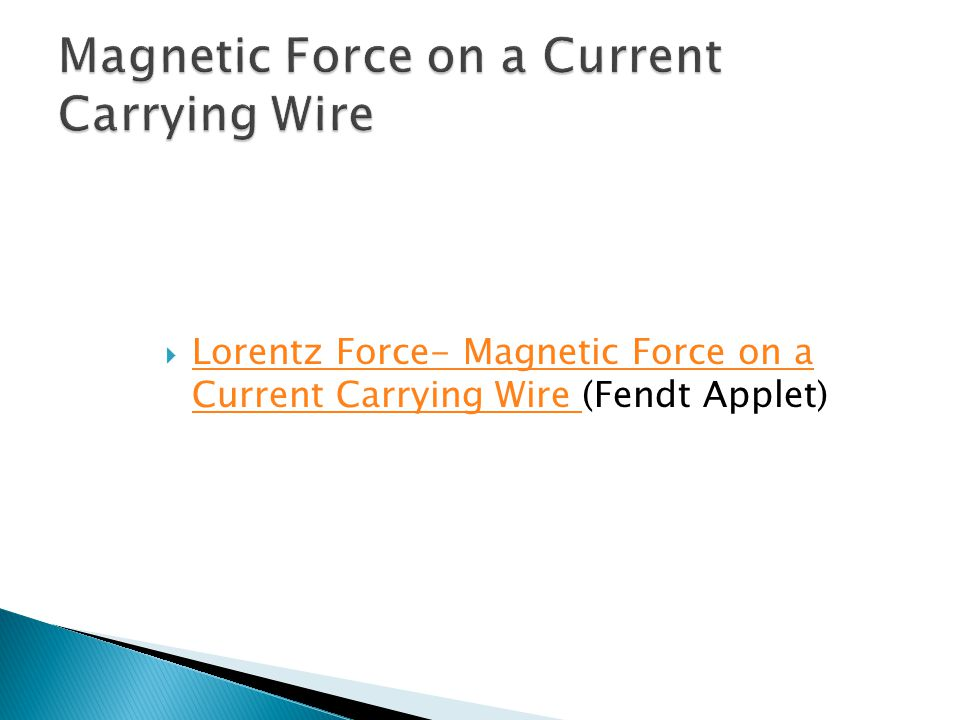 Magnetic Force on a Current Carrying Wire