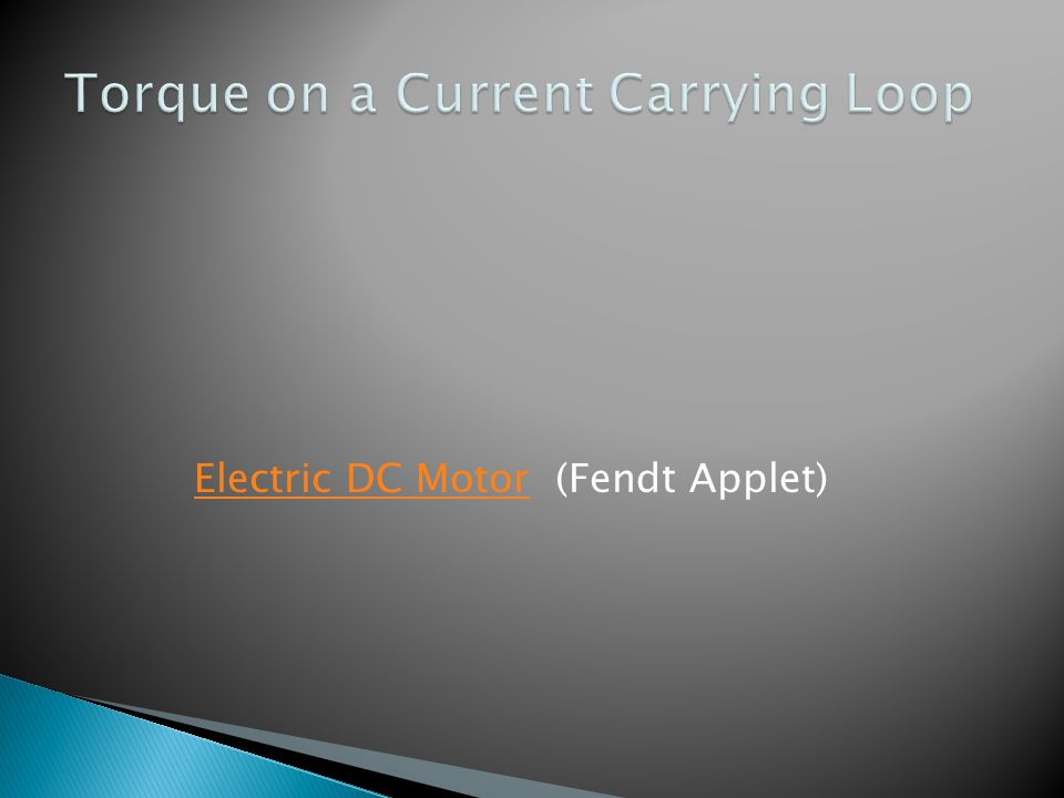 Torque on a Current Carrying Loop