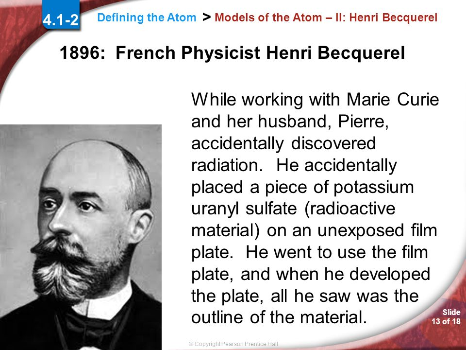 Models of the Atom – II: Henri Becquerel