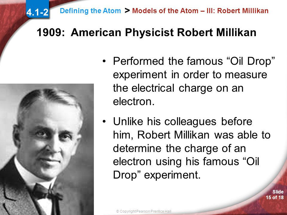 Models of the Atom – III: Robert Millikan