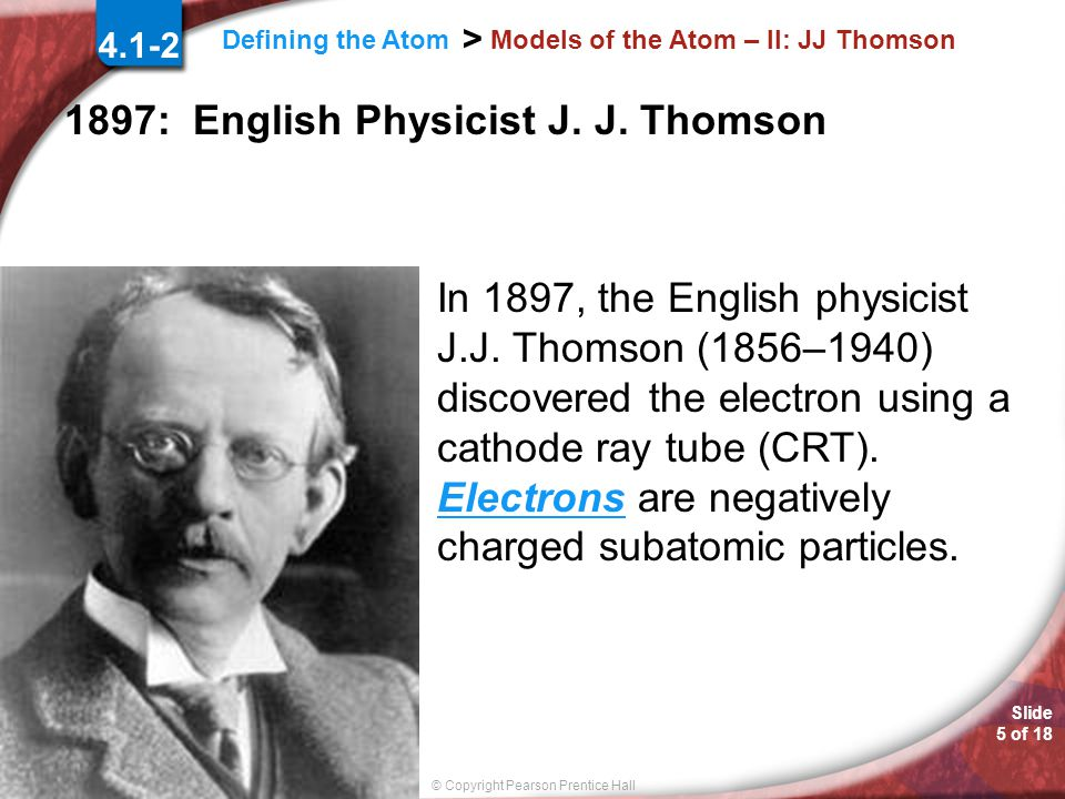 Models of the Atom – II: JJ Thomson