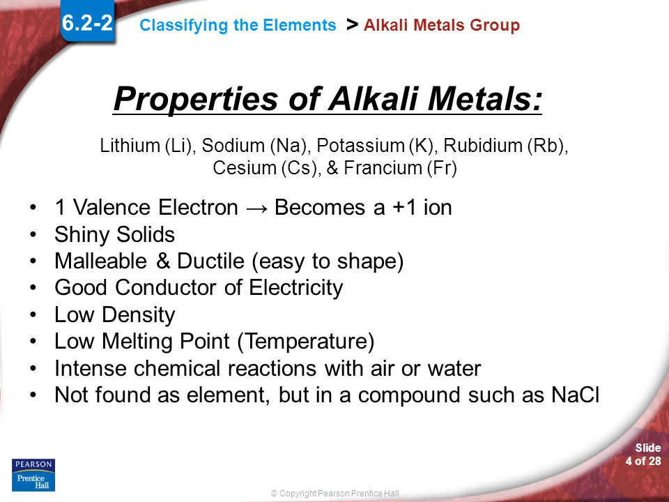 Properties of Alkali Metals: