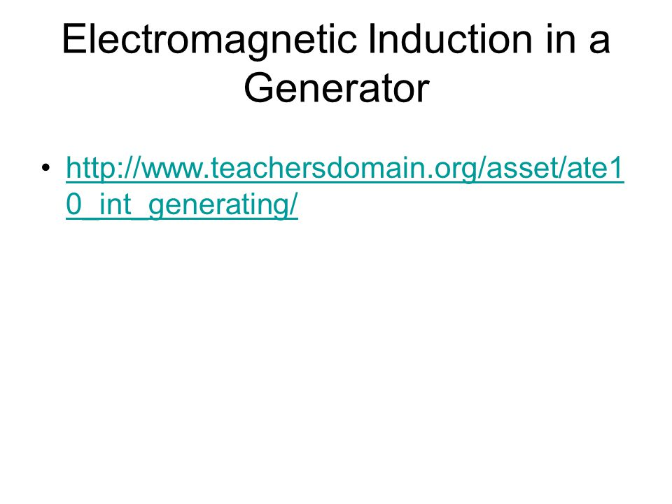 Electromagnetic Induction in a Generator