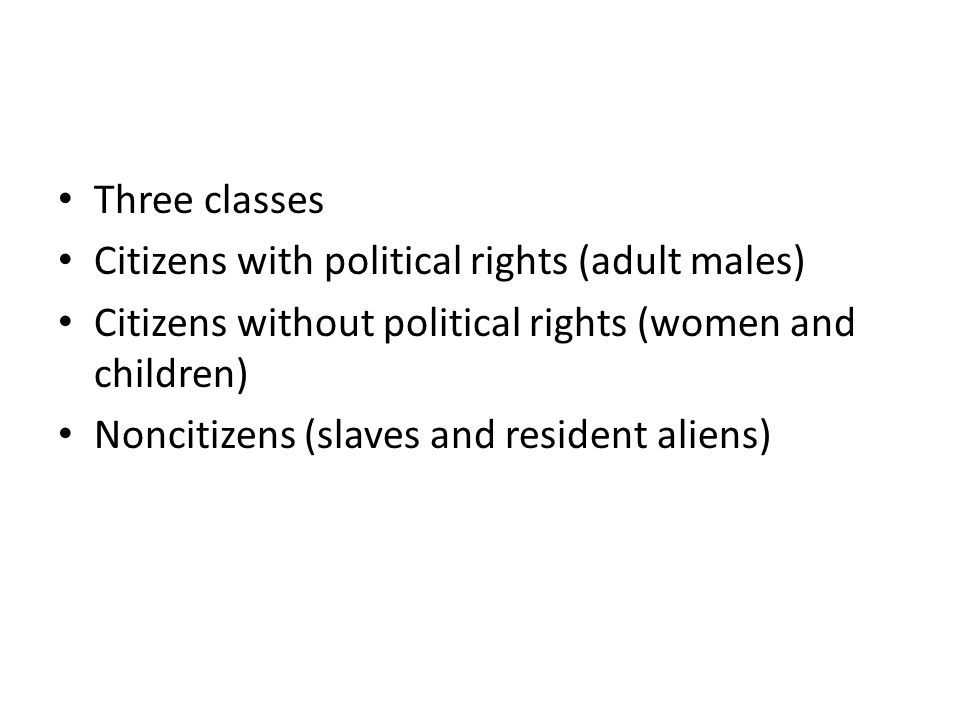 Three classes Citizens with political rights (adult males) Citizens without political rights (women and children)