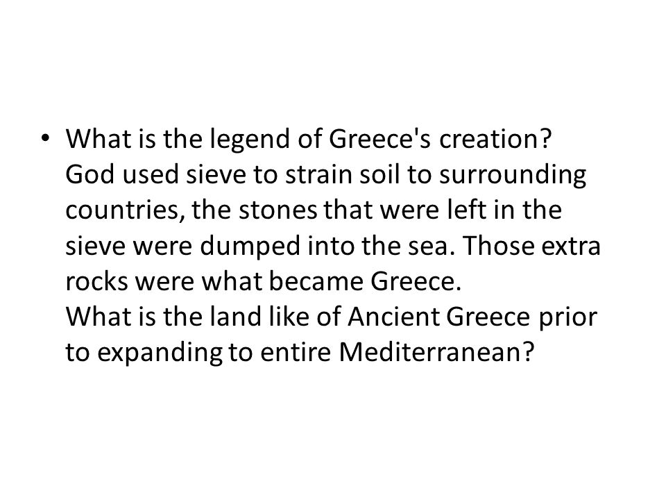 What is the legend of Greece s creation