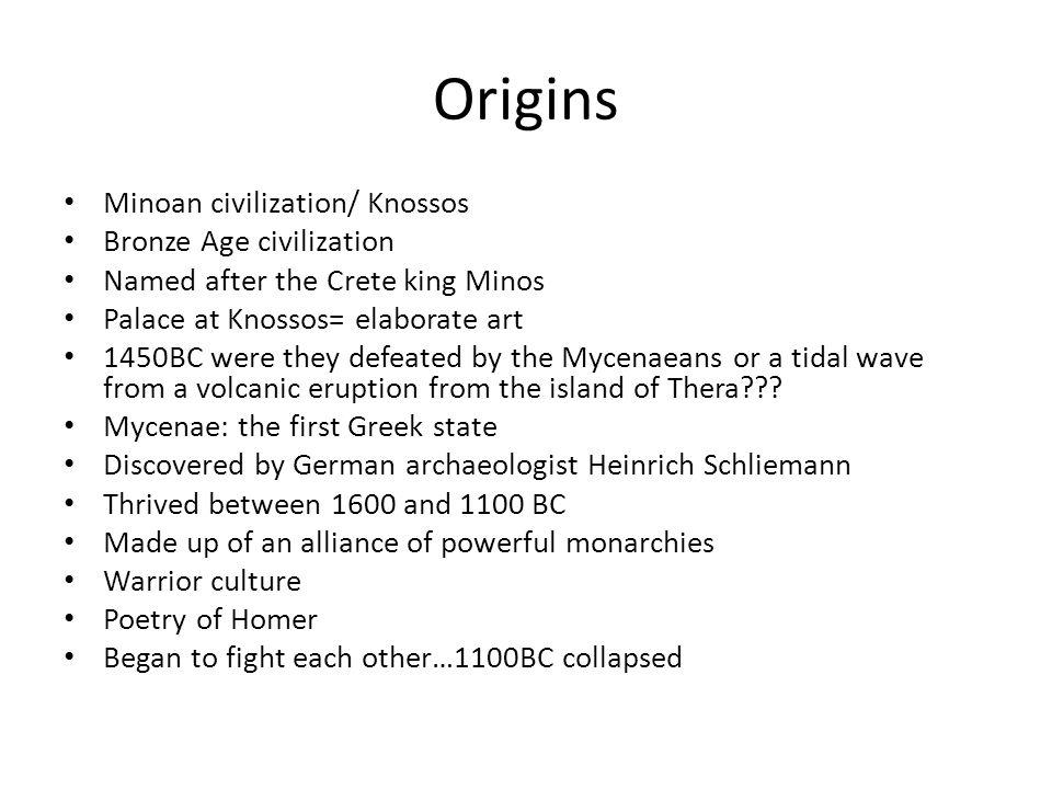 Origins Minoan civilization/ Knossos Bronze Age civilization