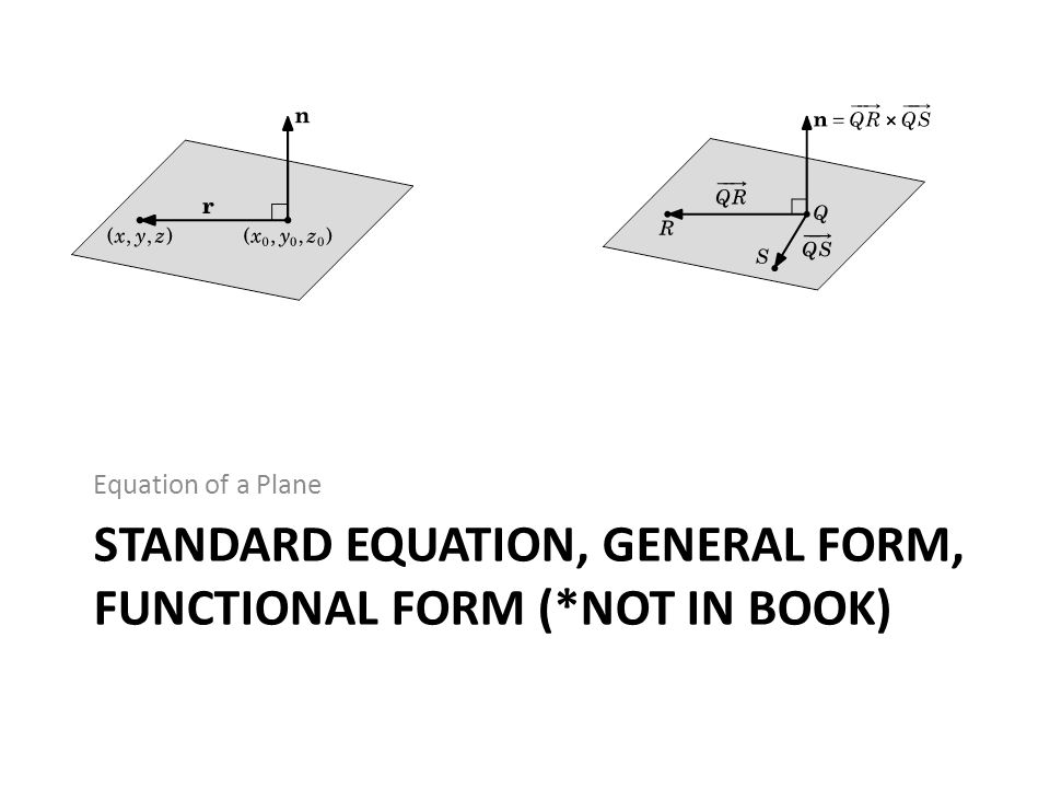 Standard equation, general form, Functional form (*not in book)