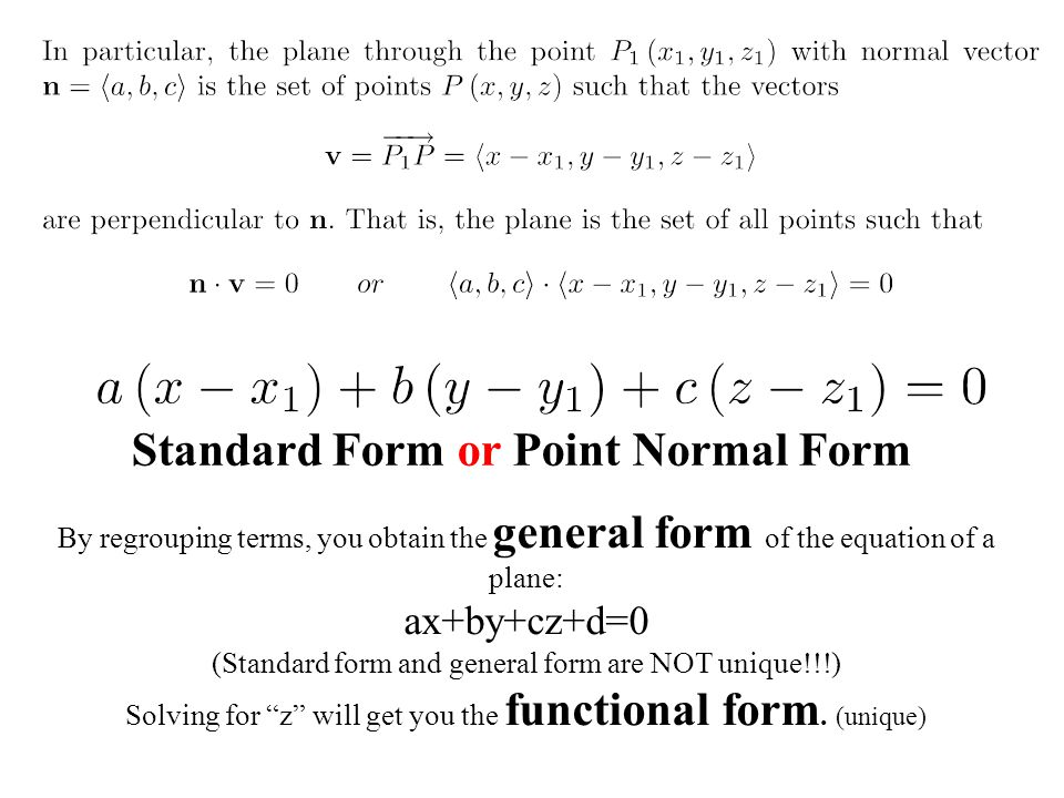 Standard Form or Point Normal Form