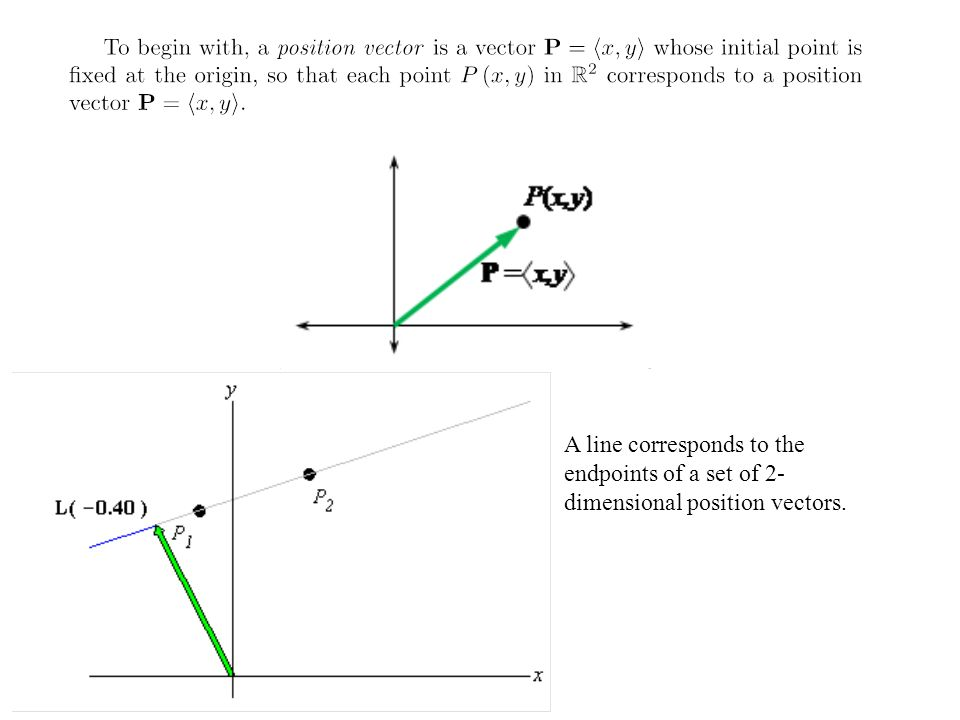 A line corresponds to the endpoints of a set of 2-dimensional position vectors.