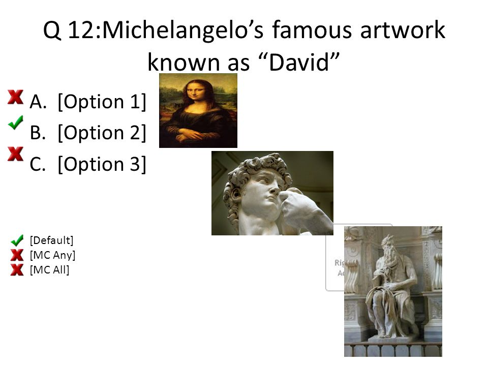 Q 12:Michelangelo's famous artwork known as David