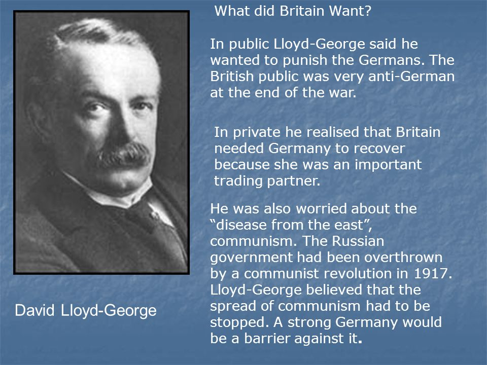 David Lloyd-George What did Britain Want