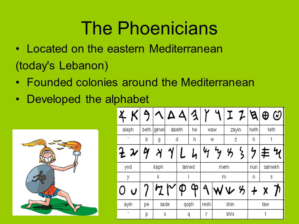 The Phoenicians Located on the eastern Mediterranean (today s Lebanon)