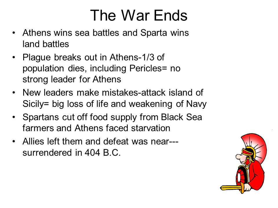The War Ends Athens wins sea battles and Sparta wins land battles