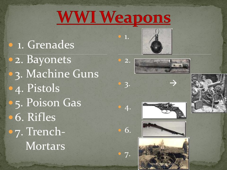 WWI Weapons 1. Grenades 2. Bayonets 3. Machine Guns 4. Pistols