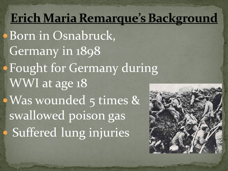Erich Maria Remarque's Background