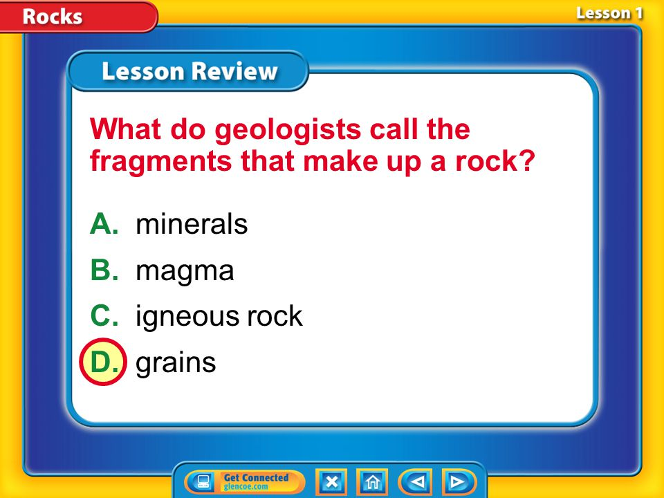 What do geologists call the fragments that make up a rock
