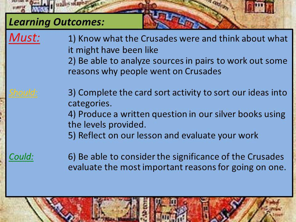 Learning Outcomes: Must: 1) Know what the Crusades were and think about what it might have been like.