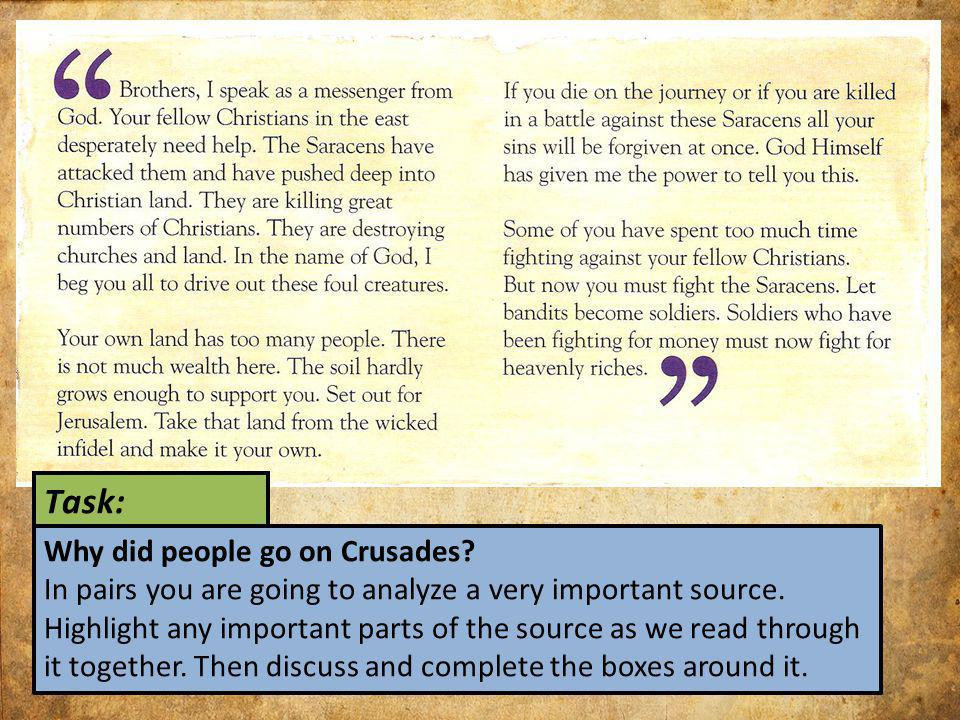 Task: Why did people go on Crusades