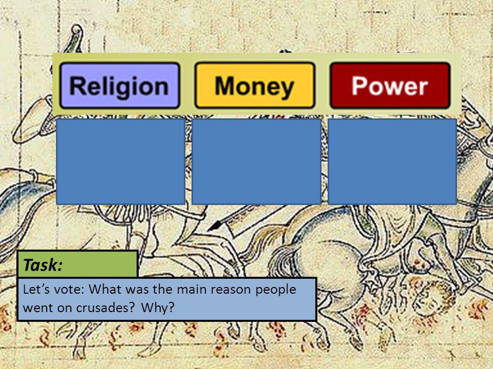 Task: Let's vote: What was the main reason people went on crusades Why