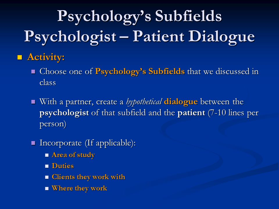 Psychology's Subfields Psychologist – Patient Dialogue