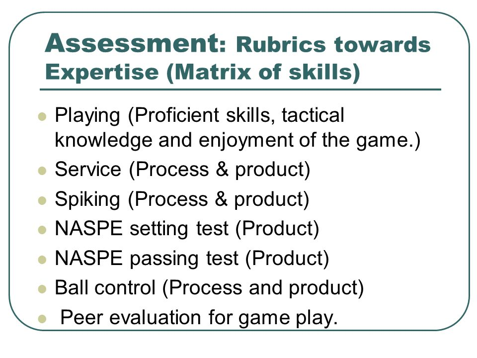 Assessment: Rubrics towards Expertise (Matrix of skills)
