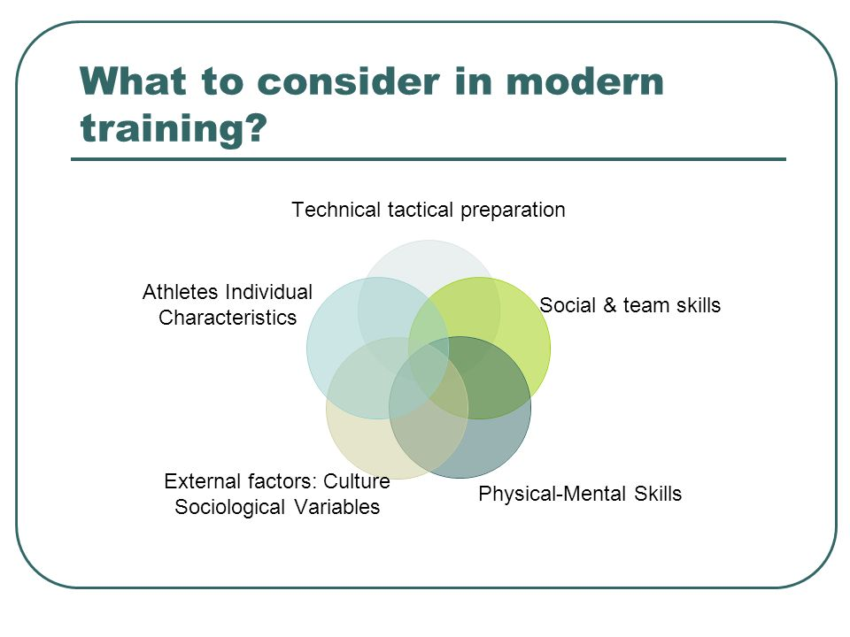 What to consider in modern training