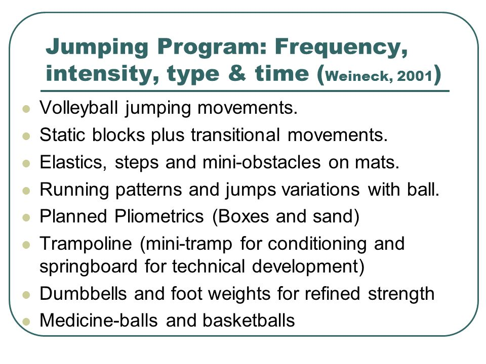 Jumping Program: Frequency, intensity, type & time (Weineck, 2001)