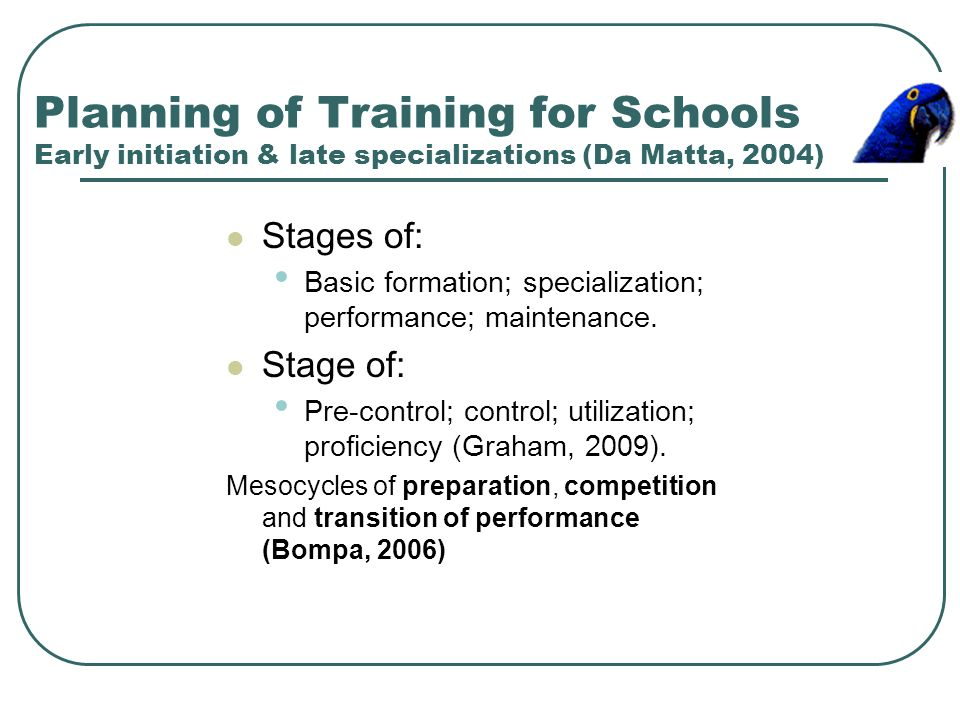 Planning of Training for Schools Early initiation & late specializations (Da Matta, 2004)