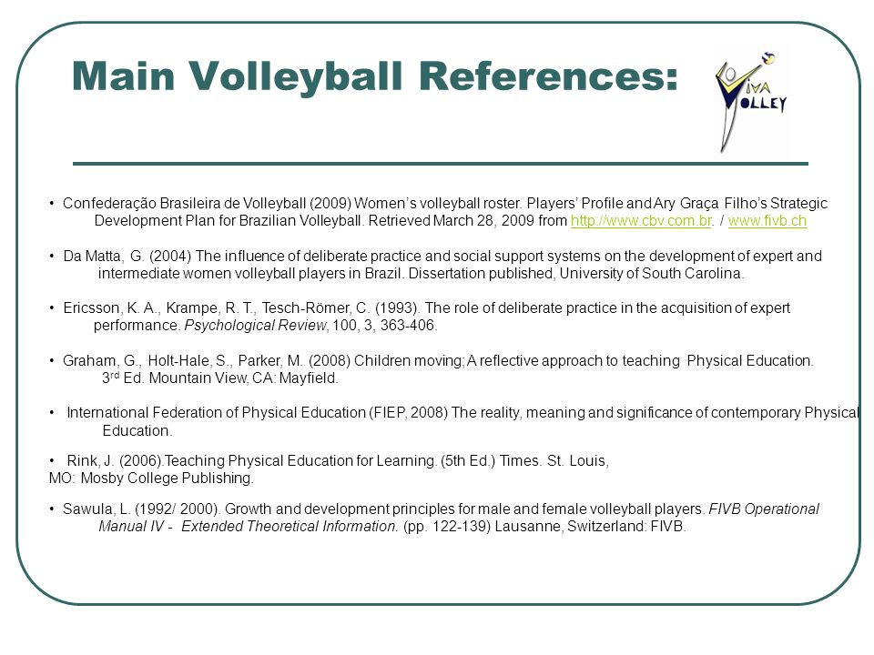 Main Volleyball References: