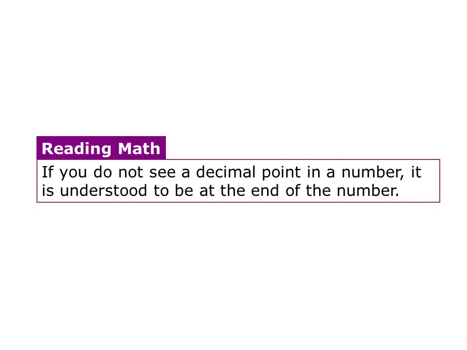 If you do not see a decimal point in a number, it is understood to be at the end of the number.