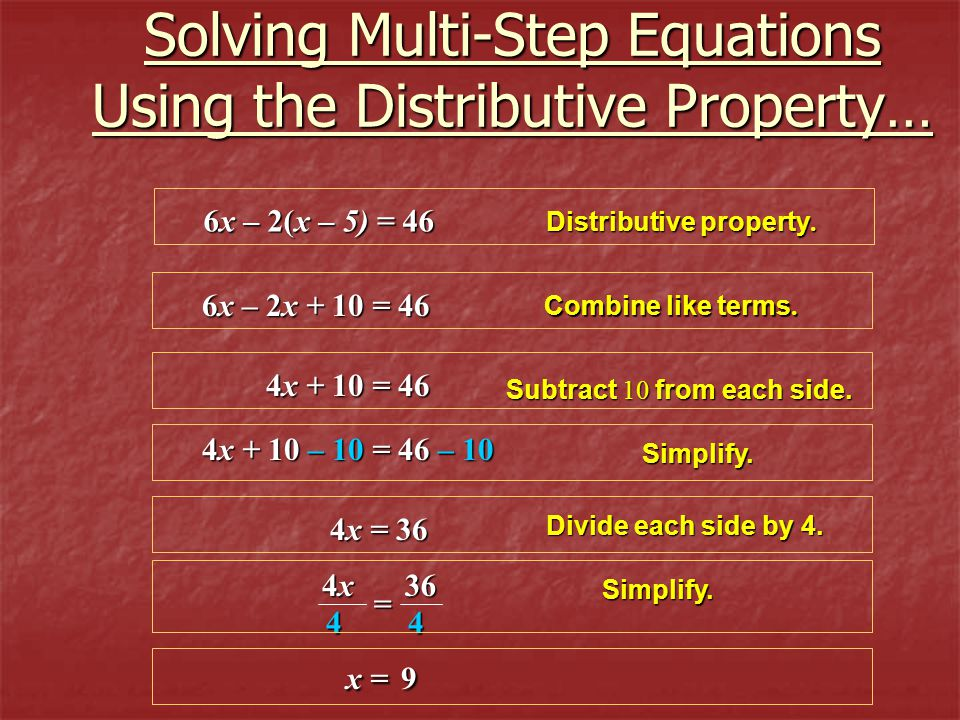 Solving Multi-Step Equations Using the Distributive Property…