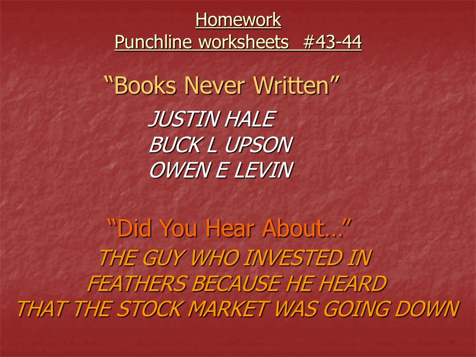 Books Never Written Did You Hear About… JUSTIN HALE BUCK L UPSON