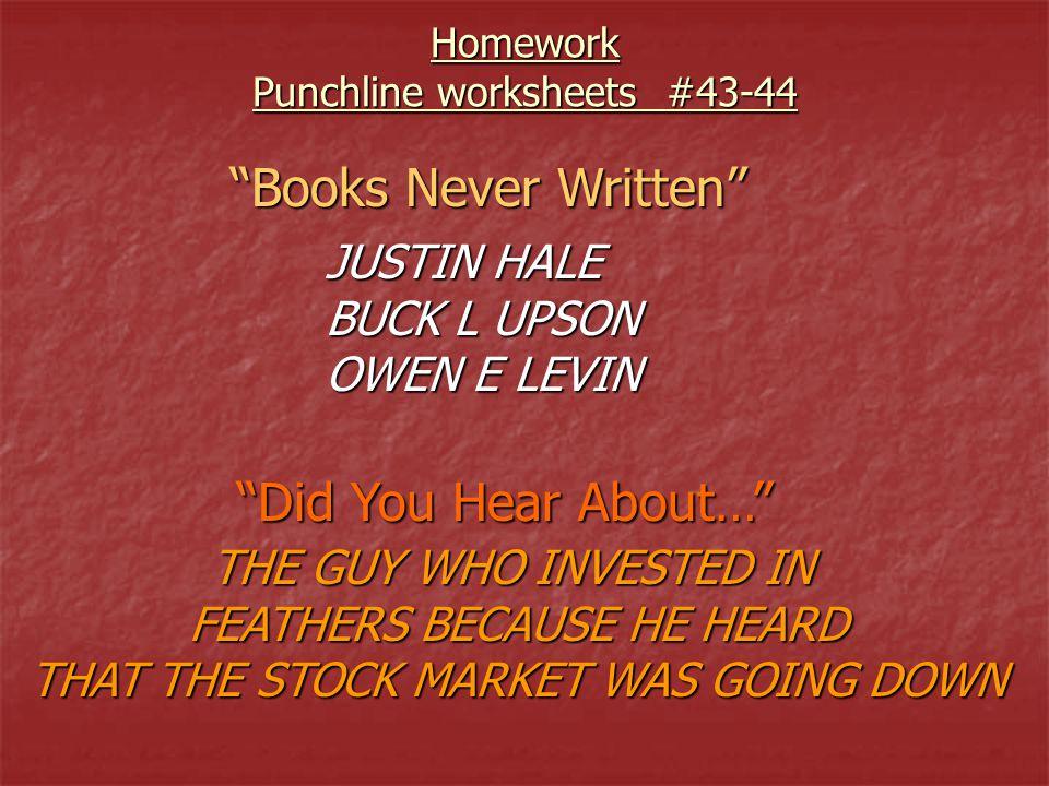 Books never written worksheet 3 1