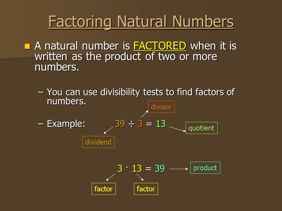 Factoring Natural Numbers