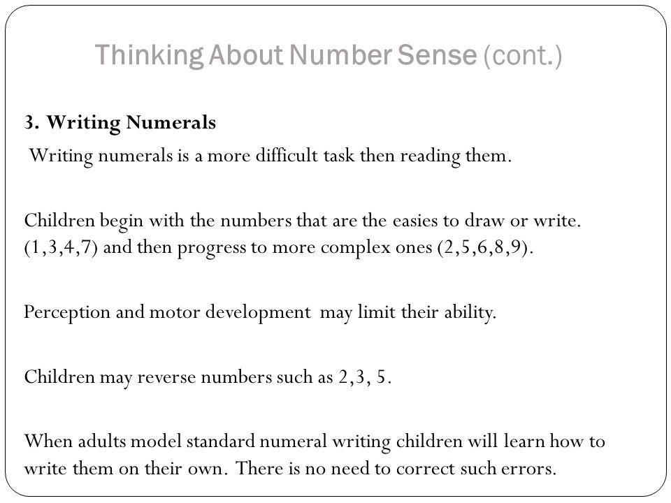 Thinking About Number Sense (cont.)