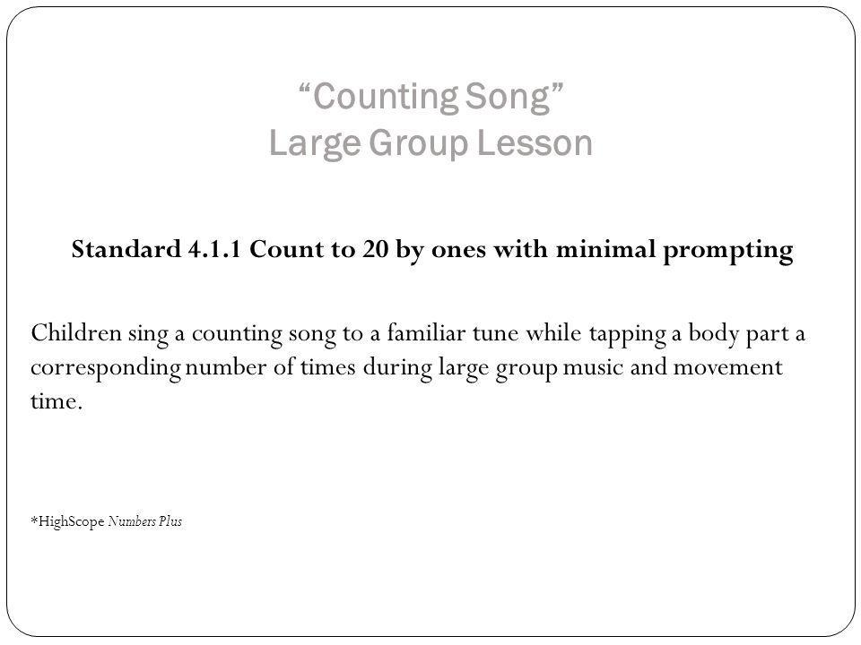 Counting Song Large Group Lesson