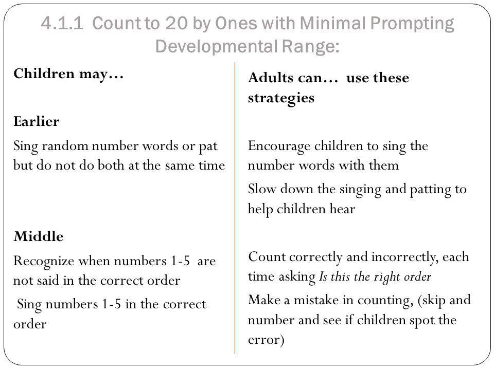 4.1.1 Count to 20 by Ones with Minimal Prompting Developmental Range: