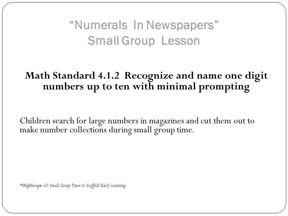 Numerals In Newspapers Small Group Lesson
