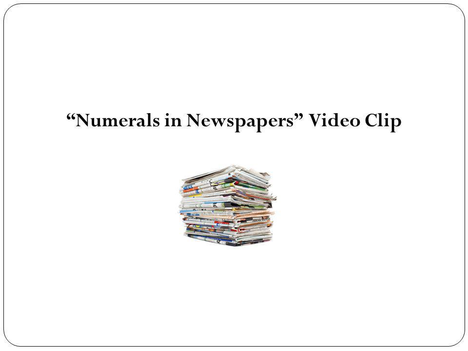 Numerals in Newspapers Video Clip