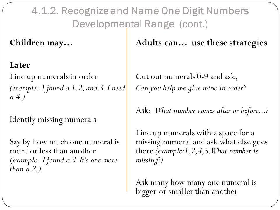 4.1.2. Recognize and Name One Digit Numbers Developmental Range (cont.)