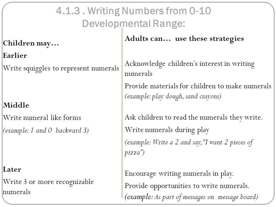 4.1.3 . Writing Numbers from 0-10 Developmental Range: