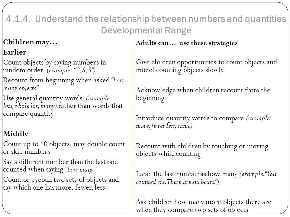 4.1.4. Understand the relationship between numbers and quantities Developmental Range