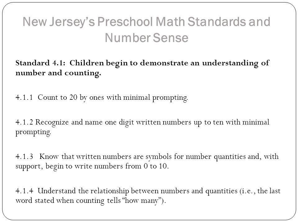 New Jersey's Preschool Math Standards and Number Sense