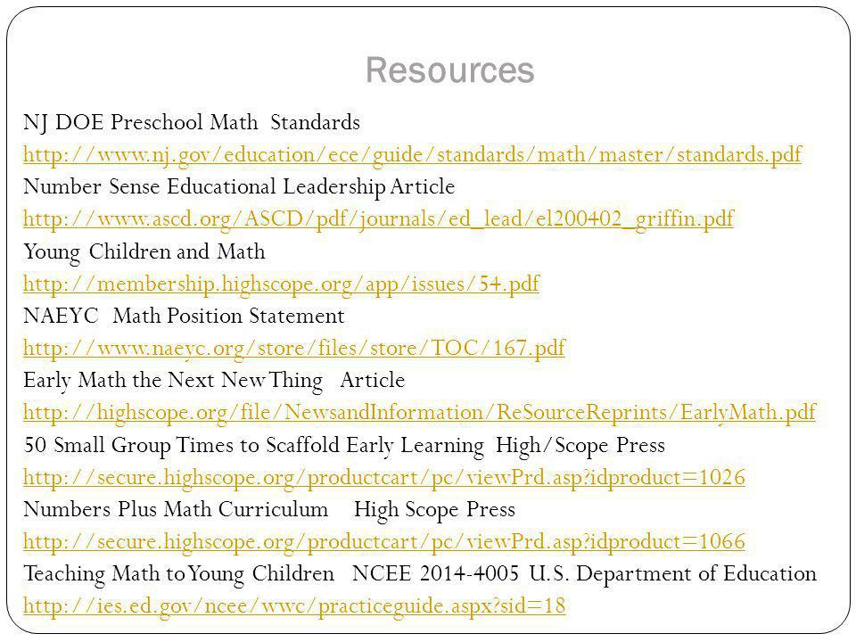 Resources NJ DOE Preschool Math Standards