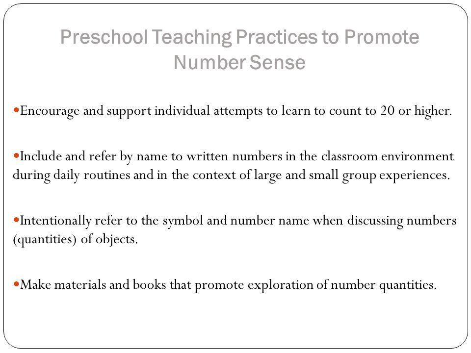 Preschool Teaching Practices to Promote Number Sense
